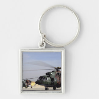 Two Iraqi Mi-17 Hip Helicopters Silver-Colored Square Keychain