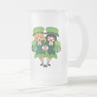 Two Irish Girls with Green Beer, St. Patrick's day 16 Oz Frosted Glass Beer Mug