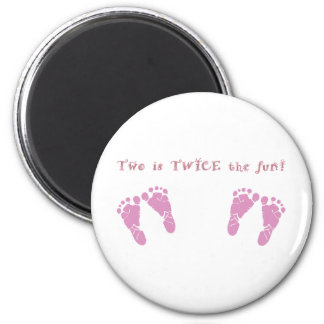 Two is twice the fun - twin girls magnet
