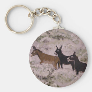 """""""Two Jackasses And A Jenny"""" Round Keychain"""