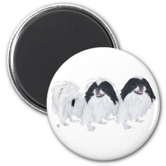 Two Japanese Chin Dogs 2 Inch Round Magnet