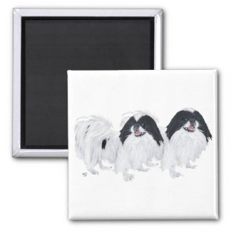 Two Japanese Chin Dogs 2 Inch Square Magnet