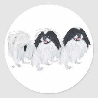 Two Japanese Chin Dogs Classic Round Sticker
