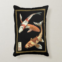 Two Japanese Koi Goldfish on Black Background Accent Pillow
