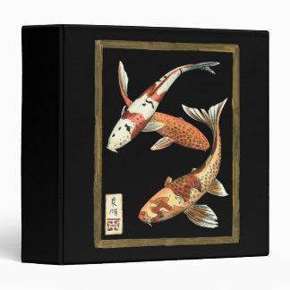 Two Japanese Koi Goldfish on Black Background 3 Ring Binder