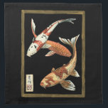 "Two Japanese Koi Goldfish on Black Background Cloth Napkin<br><div class=""desc"">This image represents two bright colorful orange Koi Goldfish on stylish black background. This contemporary fine art print of a traditional Japanese and oriental inspired details will add character to any Zazzle product.</div>"