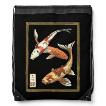 Two Japanese Koi Goldfish on Black Background Drawstring Backpack