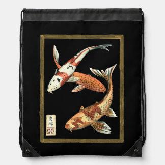 Two Japanese Koi Goldfish on Black Background Drawstring Backpack