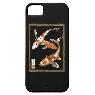 Two Japanese Koi Goldfish on Black Background iPhone SE/5/5s Case