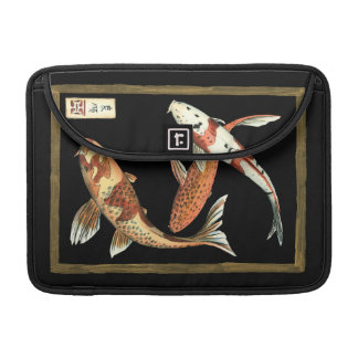 Two Japanese Koi Goldfish on Black Background MacBook Pro Sleeve