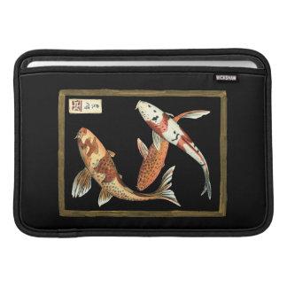 Two Japanese Koi Goldfish on Black Background MacBook Sleeve