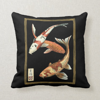 Two Japanese Koi Goldfish on Black Background Throw Pillow