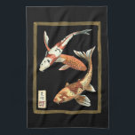 """Two Japanese Koi Goldfish on Black Background Towel<br><div class=""""desc"""">This image represents two bright colorful orange Koi Goldfish on stylish black background. This contemporary fine art print of a traditional Japanese and oriental inspired details will add character to any Zazzle product.</div>"""