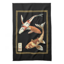 Two Japanese Koi Goldfish on Black Background Towel