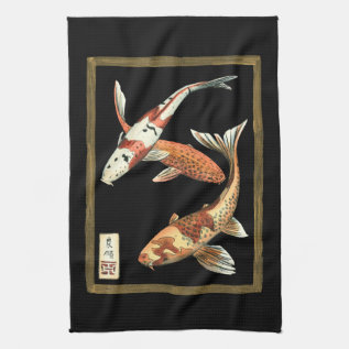 Two Japanese Koi Goldfish On Black Background Towel at Zazzle