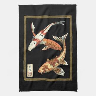 Two Japanese Koi Goldfish on Black Background Towel