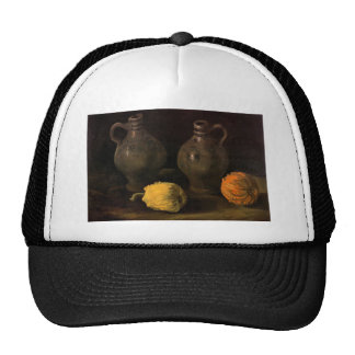 Two Jars and Two Pumpkins by Van Gogh Mesh Hats