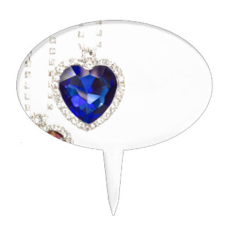 Two jewelry hearts blue and red hanging together cake topper