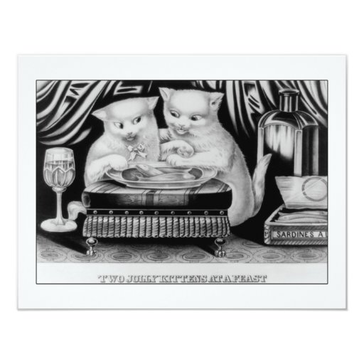 Two jolly Kittens at a Feast Personalized Invitation