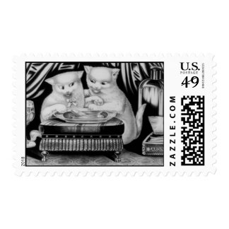 Two jolly Kittens at a Feast Stamp
