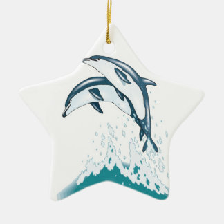 two jumping dolphins Double-Sided star ceramic christmas ornament