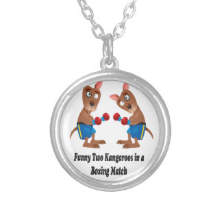 Two Kangaroos in-a Boxing Match Gift Set Round Pendant Necklace