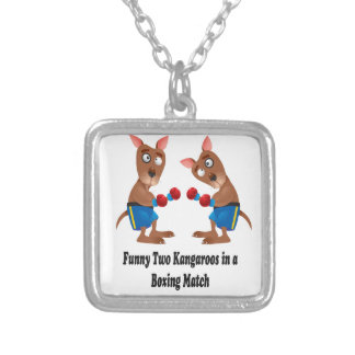 Two Kangaroos in-a Boxing Match Gift Set Square Pendant Necklace