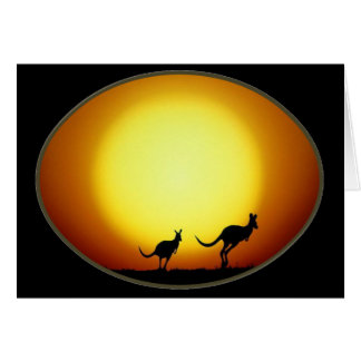 Two Kangaroos Silhouetted in an Oval Design Card