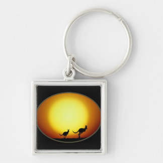 Two Kangaroos Silhouetted in an Oval Design Key Chains