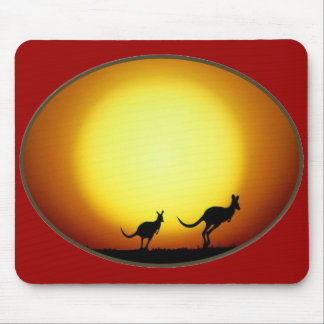 Two Kangaroos Silhouetted in an Oval Design Mouse Pad