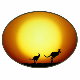 Two Kangaroos Silhouetted in an Oval Design Statuette