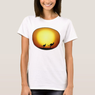 Two Kangaroos Silhouetted in an Oval Design T-Shirt