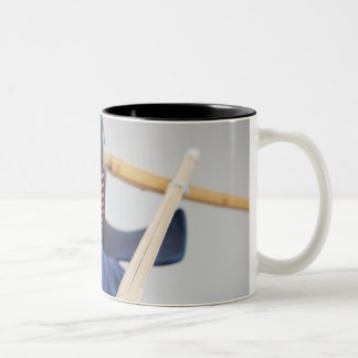 Two Kendo Fencers Sparring 2 Two-Tone Coffee Mug