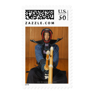 Two Kendo Fencers Sparring Postage