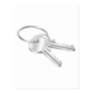 Two keys on a keyring illustration postcard