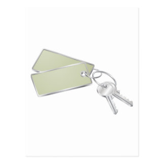 Two keys with blank tag for text post card