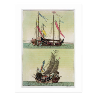 Two kinds of Chinese Junk, illustration from 'Le C Postcards