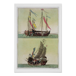 Two kinds of Chinese Junk, illustration from 'Le C Poster