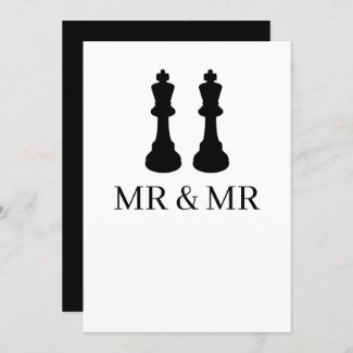 Two Kings Chess Pieces Gay Wedding Announcement