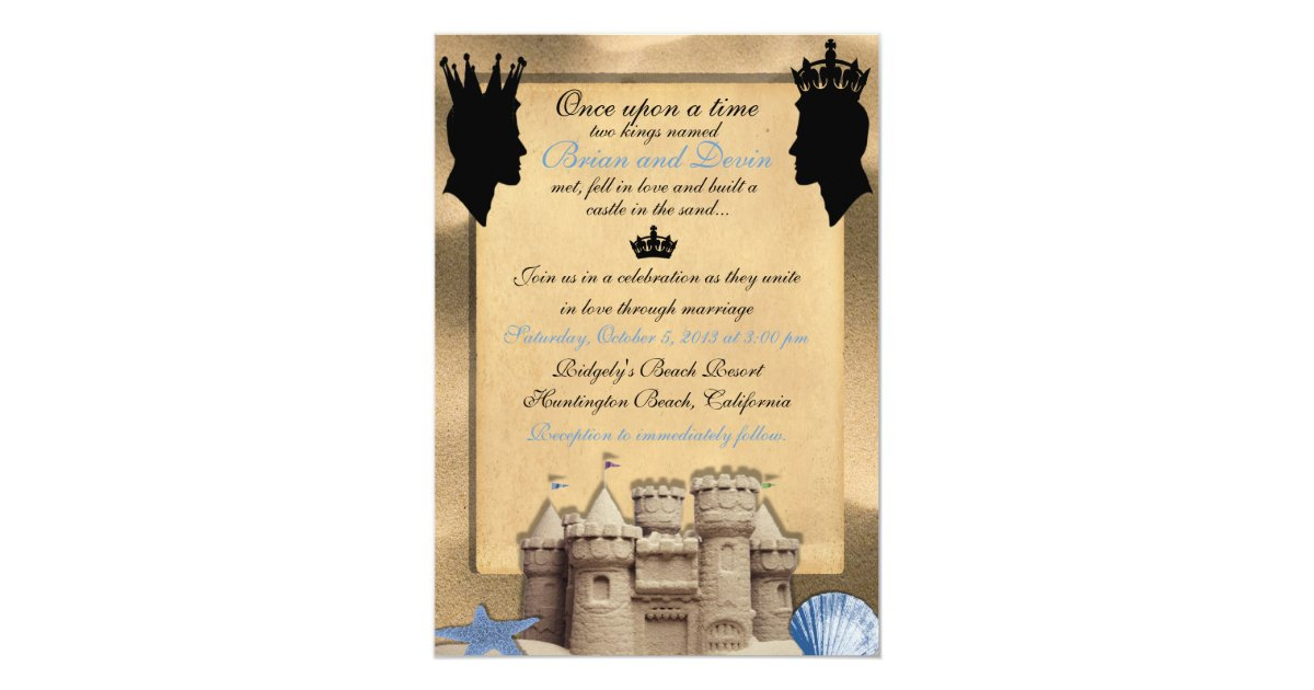 Gay Marriage Wedding Invitations: Two Kings Custom Gay Wedding Invitations