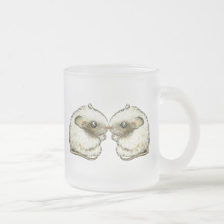 two kissing mice frosted glass coffee mug