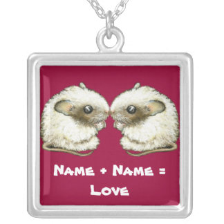 two kissing mice square pendant necklace