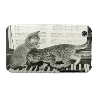 Two kitten playing on piano keyboard, (B&W) iPhone 3 Case-Mate Case