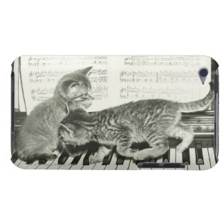 Two kitten playing on piano keyboard, (B&W) iPod Case-Mate Case