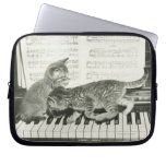 Two kitten playing on piano keyboard, (B&W) Laptop Computer Sleeves