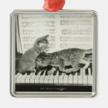Two kitten playing on piano keyboard, (B&W) Square Metal Christmas Ornament