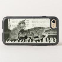 Two kitten playing on piano keyboard, (B&W) OtterBox Symmetry iPhone 8/7 Case