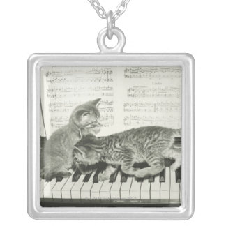 Two kitten playing on piano keyboard, (B&W) Square Pendant Necklace