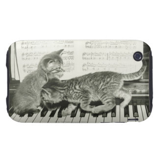 Two kitten playing on piano keyboard, (B&W) Tough iPhone 3 Case
