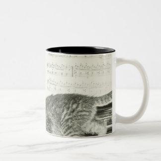 Two kitten playing on piano keyboard, (B&W) Two-Tone Coffee Mug